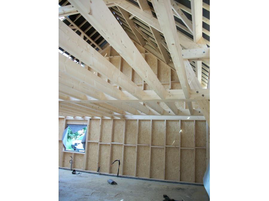 Vue intérieure d'une ossature bois
