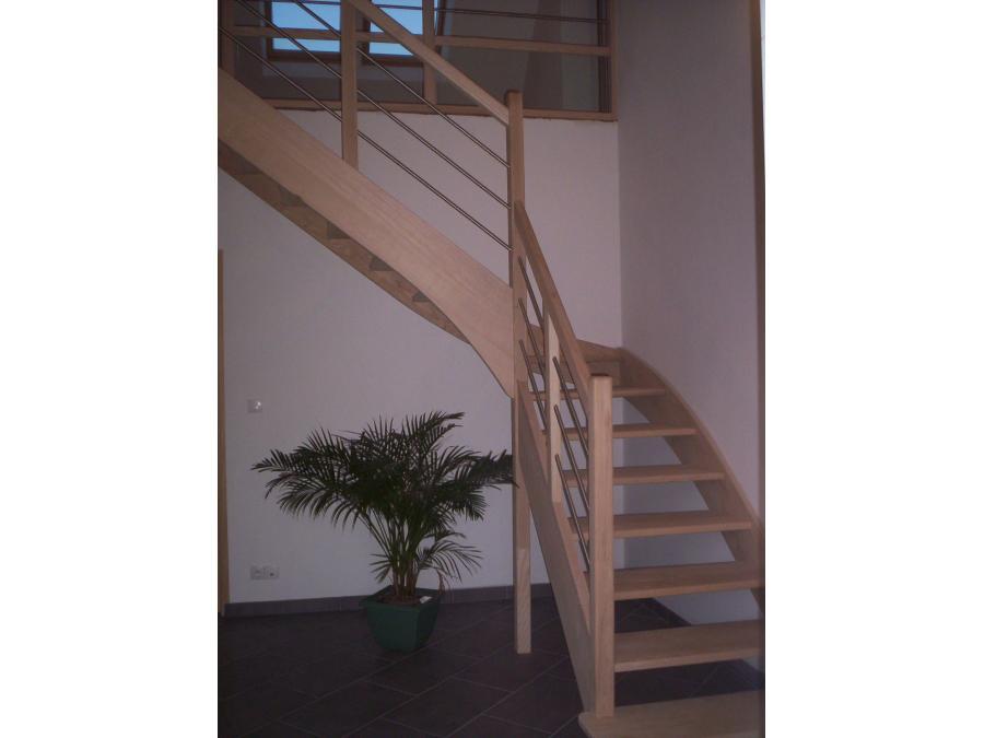 Escalier bois et acier avec quart tournant